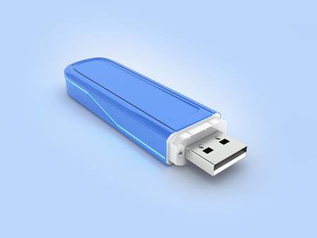 USB flash drive in blue with backlight on blue gradient background with reflection 3d Stock Photo