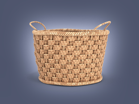 Empty wicker basket on dark blue graient background 3d Stock Photo