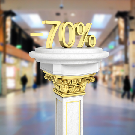 Gold text 70 percent off standing on the pedestal isolated on shopping center background 3D render Stock Photo