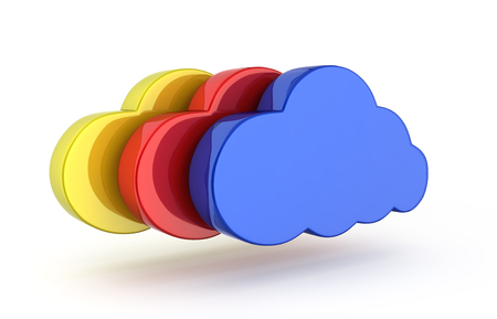 Cloud sign illustration Colorful clouds in blue isolated on white background 3d