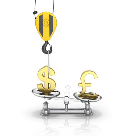lowers: Concept of exchange rate support dollar vs euro The crane pulls the dollar up and lowers the pound sterling on white background with reflection 3d Stock Photo