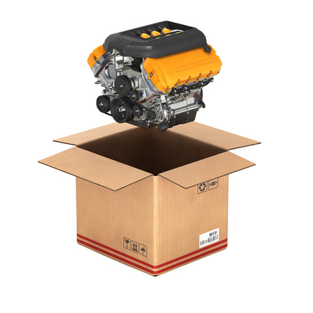 Engine with a cardboard box Concept of sale and delivery of auto parts without shadow on white background 3d