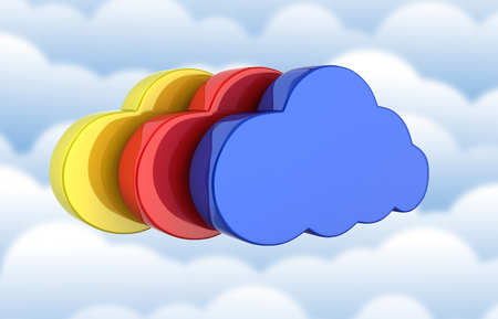 Cloud sign illustration Colorful clouds in blue on clouds background 3d