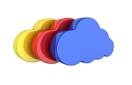 Cloud sign illustration Colorful clouds in blue without shadow on white background 3d Stock Photo