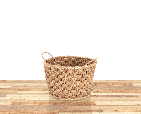 Empty wicker basket on wood floor and white background with reflection 3d