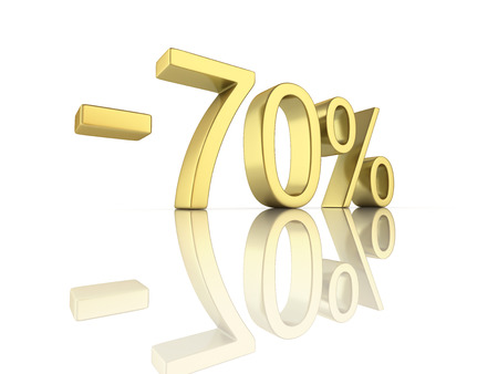 sell: Gold text 70 percent off on white background with reflection 3D render Stock Photo