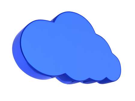 Cloud sign illustration in blue isolated on white background 3d