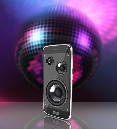 Musical smartphone Mobile phone music app Cellphone and loudspeakers on disco ball background 3d Stock Photo