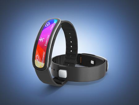 fitness bracelet smart watch on dark blue gradient background 3d