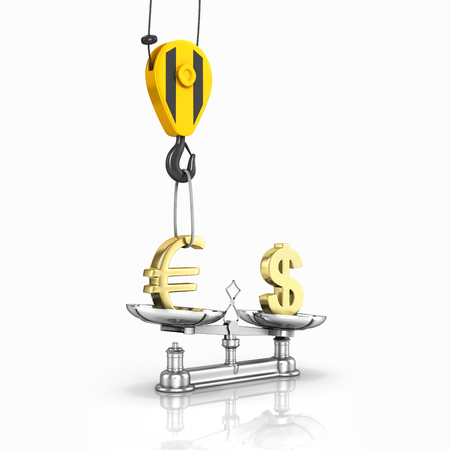justice scale: Concept of exchange rate support dollar vs euro The crane pulls the euro up and lowers the dollar on white background with reflection 3d Stock Photo