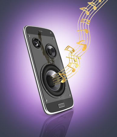 loudspeaker: Musical smartphone Mobile phone music app Cellphone and loudspeakers with notes on purple gradient background 3d Stock Photo