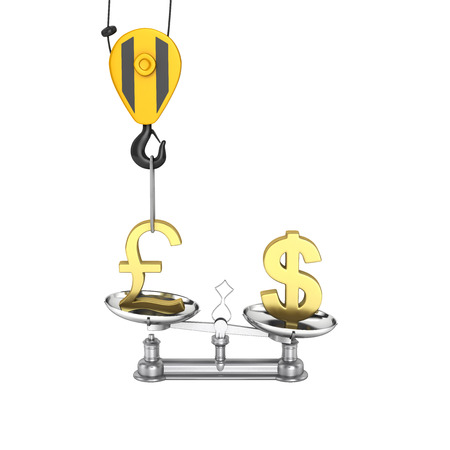 lowers: Concept of exchange rate support dollar vs euro The crane pulls the pound up and lowers the dollar sterling on white background without shadow 3d