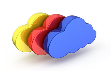 Cloud sign illustration Colorful clouds in blue on white background 3d