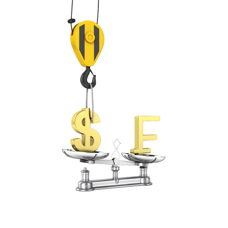 lowers: Concept of exchange rate support dollar vs franc The crane pulls the dollar up and lowers the franc on white background with reflection 3d without shadow