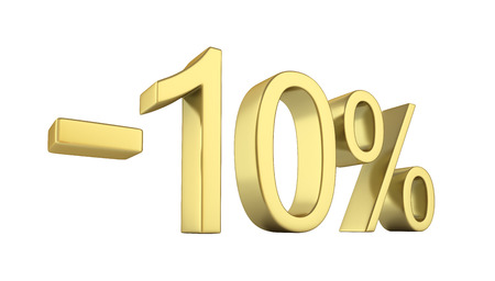 sell: Gold text 10 percent off on white background without shadow 3D render