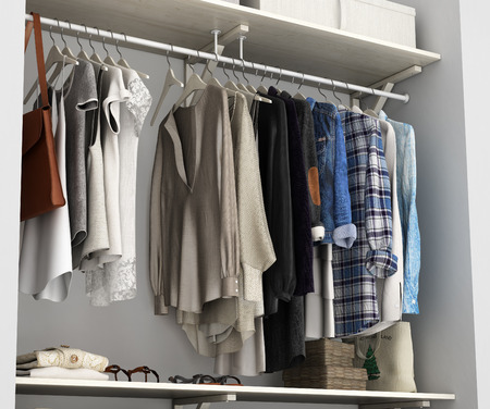 outerwear: Wardrobe built-in wall with clothes 3d render