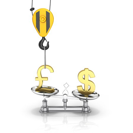lowers: Concept of exchange rate support dollar vs euro The crane pulls the pound up and lowers the dollar sterling on white background 3d Stock Photo