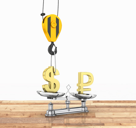 lowers: Concept of exchange rate support dollar vs euro The crane pulls the dollar up and lowers the ruble on wood floor and white background 3d