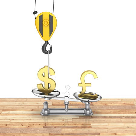 lowers: Concept of exchange rate support dollar vs euro The crane pulls the dollar up and lowers the pound sterling on wood floor and white background 3d Stock Photo