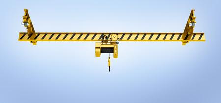 overhead crane on blue gradient background 3d