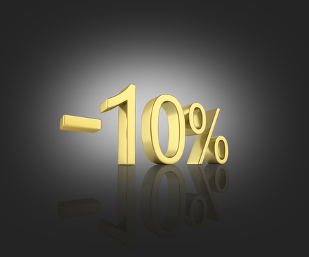 Gold text 10 percent off on black gradient background with reflection 3D render Stock Photo