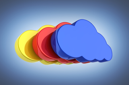 Cloud sign illustration Colorful clouds in blue on dark blue gradient background 3d Stock Photo