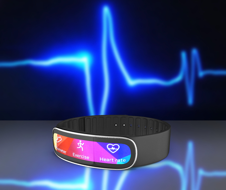 fitness bracelet smart watch isolated on pulse line background 3d Stock Photo