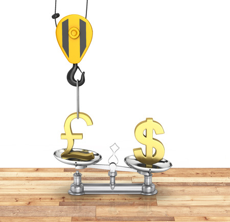 lowers: Concept of exchange rate support dollar vs euro The crane pulls the pound up and lowers the dollar sterling on wood floor and white background 3d Stock Photo
