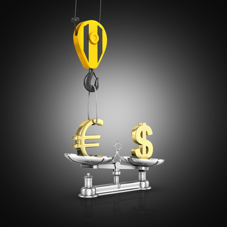 Concept of exchange rate support dollar vs euro The crane pulls the euro up and lowers the dollar on black gradient background 3d Stock Photo