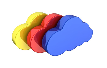 Cloud sign illustration Colorful clouds in blue on white background 3d without shadow Stock Photo