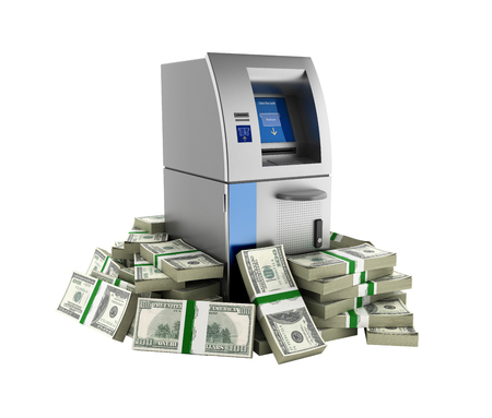 pack of dollars: ATM surrounded by 100 dollar bankrolls Bank Cash Machine in pile of money american dollar bills isolated on white background 3d without shadow