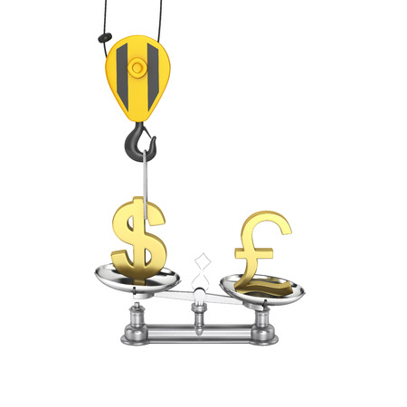 lowers: Concept of exchange rate support dollar vs euro The crane pulls the dollar up and lowers the pound sterling on white background without shadow 3d