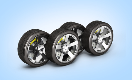 Car wheels with brake isolated on blue gradient background 3d Stock Photo