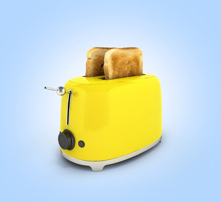 Toaster with toasted bread on blue gradient background Kitchen equipment Close up 3d 版權商用圖片