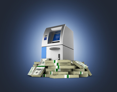 pack of dollars: ATM surrounded by 100 dollar bankrolls Bank Cash Machine in pile of money american dollar bills isolated on dark blue gradient background 3d