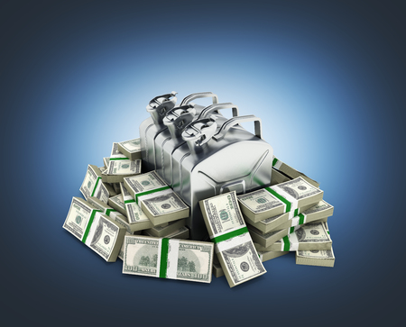 Gas canisters surrounded by 100 dollar bankrolls Concept of gasoline prices Gas canister in pile of money american dollar bills isolated on blue gradient background 3d