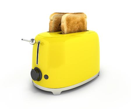 Broodrooster met geroosterd brood geïsoleerd op witte achtergrond Keukenapparatuur Close-up 3d