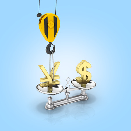 vs: Concept of exchange rate support dollar vs euro The crane pulls the yen up and lowers the dollar on blue gradient background 3d Stock Photo