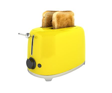 Broodrooster met geroosterd brood zonder schaduw op witte achtergrond Keukenmateriaal Close-up 3d
