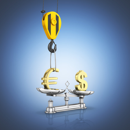 Concept of exchange rate support dollar vs euro The crane pulls the euro up and lowers the dollar on dark blue gradient background 3d Stock Photo