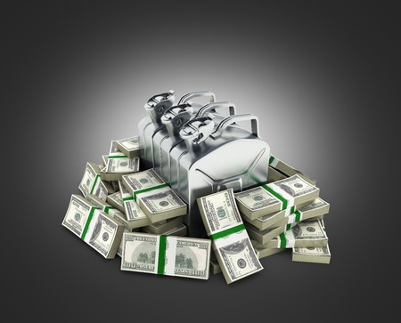 Gas canisters surrounded by 100 dollar bankrolls Concept of gasoline prices Gas canister in pile of money american dollar bills isolated on grey gradient background 3d Stock Photo