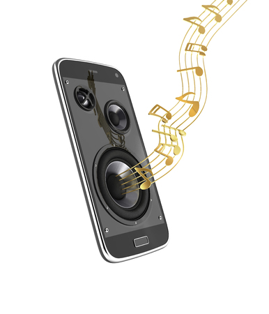 Musical smartphone Mobile phone music app Cellphone and loudspeakers with notes on white background 3d without shadow Stock Photo