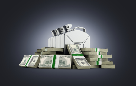 heap: Gas canisters surrounded by 100 dollar bankrolls Concept of gasoline prices Gas canister in pile of money american dollar bills isolated on dark blue gradient background 3d Stock Photo