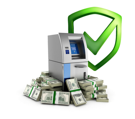 automatic transaction machine: ATM surrounded by 100 dollar bankrolls with shield Bank protection concept Bank Cash Machine in pile of money american dollar bills isolated on white background 3d without shadow Foto de archivo