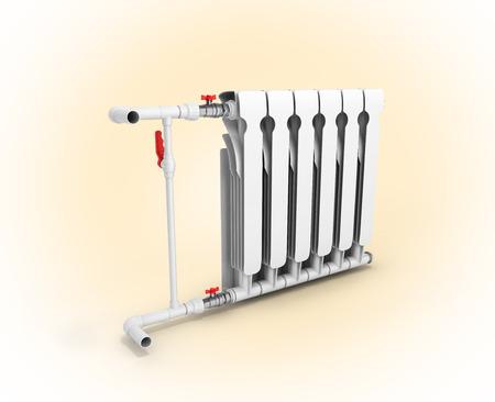 convection: Heating white radiator isolated on warm orange gadient background 3d Stock Photo