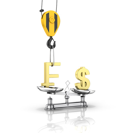 Concept of exchange rate support dollar vs euro The crane pulls the swiss frank up and lowers the dollar on white background with reflection 3d Stock Photo