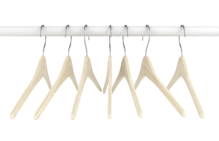 brown shirt: Wooden clothes hangers illustration of Classic Clothes Hanger isolated on white 3d Stock Photo