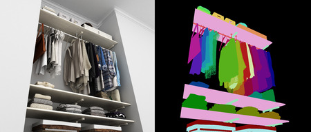 Wardrobe built-in wall with clothes 3d render with alpha color map Stock Photo