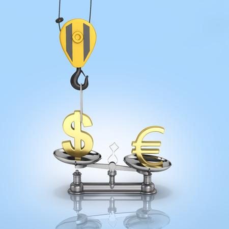 justice scale: Concept of exchange rate support dollar vs euro The crane pulls the dollar up and lowers the euro on blue gradient background with reflection 3d