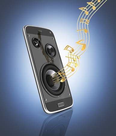 loud speaker: Musical smartphone Mobile phone music app Cellphone and loudspeakers with notes on dark blue gradient background 3d Stock Photo